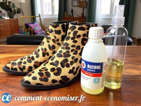 استخدم 70٪ كحول لصنع أحذية صغيرة جدًا.
