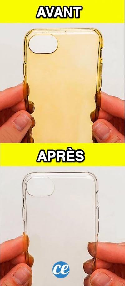 غطاء iPhone أصفر من قبل وأبيض بعد بفضل نصائح التنظيف هذه