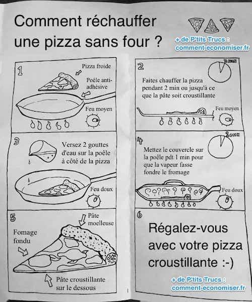 استخدم مقلاة لإعادة تسخين بقايا البيتزا.