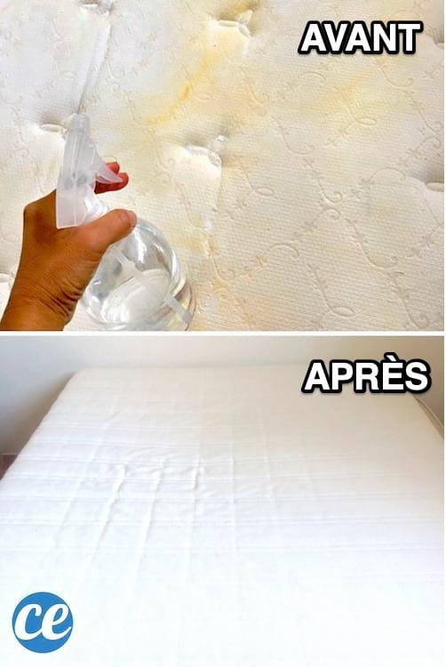 فراش متسخ ثم ينظف بعد العلاج ببيروكسيد الهيدروجين ، سائل الغسيل وصودا الخبز.