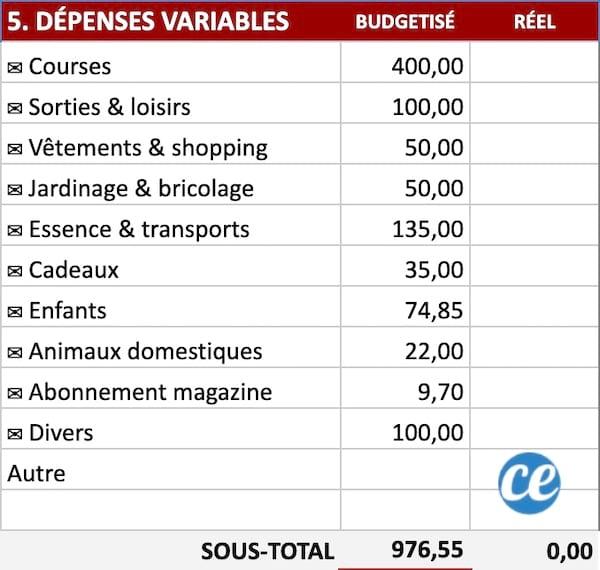جدول مع قائمة النفقات المتغيرة مثل التسوق والنزهات