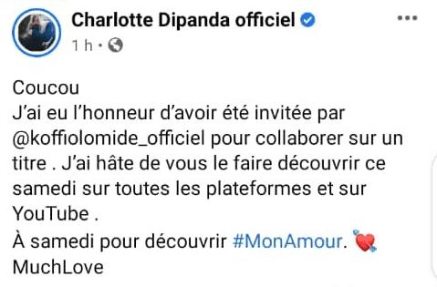 شارلوت ديباندا: رسالتها حول تعاونها مع Koffi Olomidé