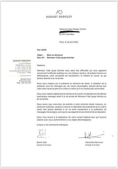 يبرر Fally Ipupa شكواه ضد زوجته السابقة نيكي برشلونة