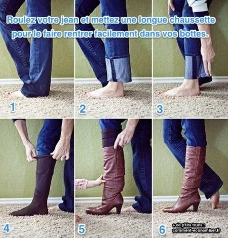 نصيحة لتخزين الجينز في حذائك