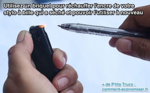 استخدم ولاعة لتسخين حبر قلم الحبر الجاف الخاص بك الذي جف ويمكنك استخدامه مرة أخرى