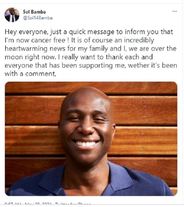 تعافى لاعب كرة القدم الإيفواري سليمان بامبا من مرض السرطان