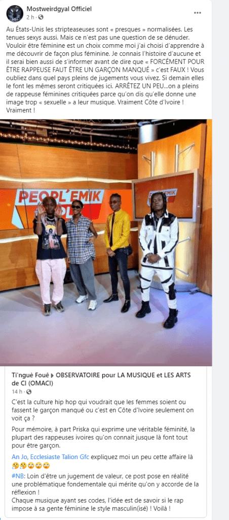 """ساحل العاج: علاج """"المسترجلة""""مغني الراب موستي يتفاعل على الشبكات الاجتماعية"""