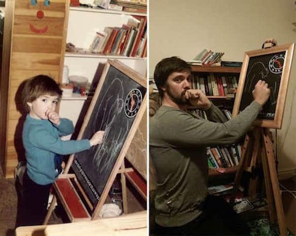 ابن يمص إبهامه لإعادة إنشاء صور الطفولة لعيد الأم