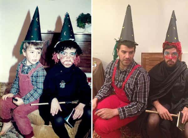 يتنكر شقيقان في عيد الهالوين لإعادة إنشاء صور الطفولة لعيد الأم