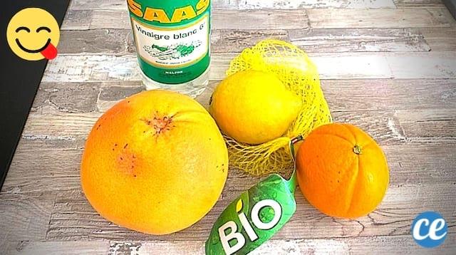 الخل الأبيض بالليمون والبرتقال لعمل نكهة الخل