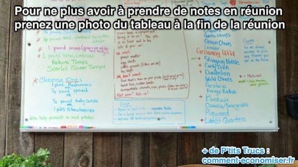 لتجنب الاضطرار إلى تدوين الملاحظات في الاجتماع ، التقط صورة للوحة في نهاية الاجتماع