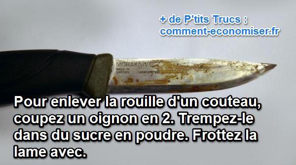 حيلة لإزالة الصدأ من نصل السكين بالبصل والسكر