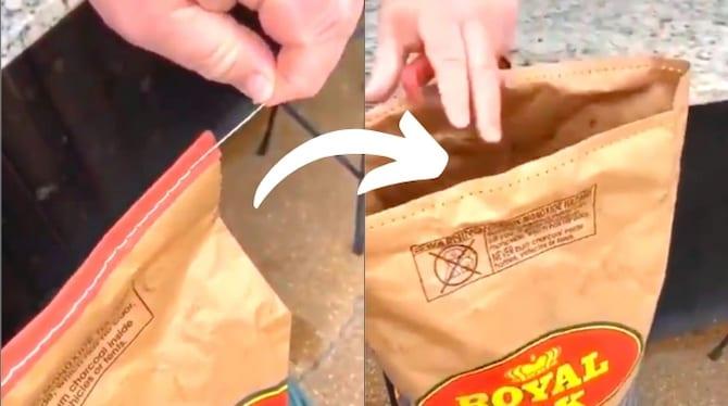 الحيلة لفتح كيس من الفحم بشكل نظيف (دون تمزيقه).