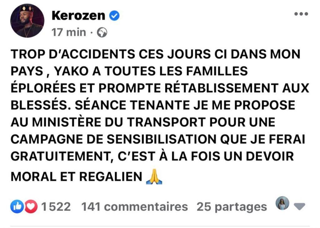 ساحل العاج / حادث مروري: Kerozen Dj يقدم مساعدته لوزير النقل