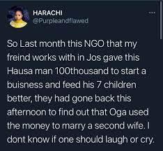 نيجيريا: يتلقى المال لإطعام أطفاله السبعة ويستخدمها للزواج من زوجة ثانية