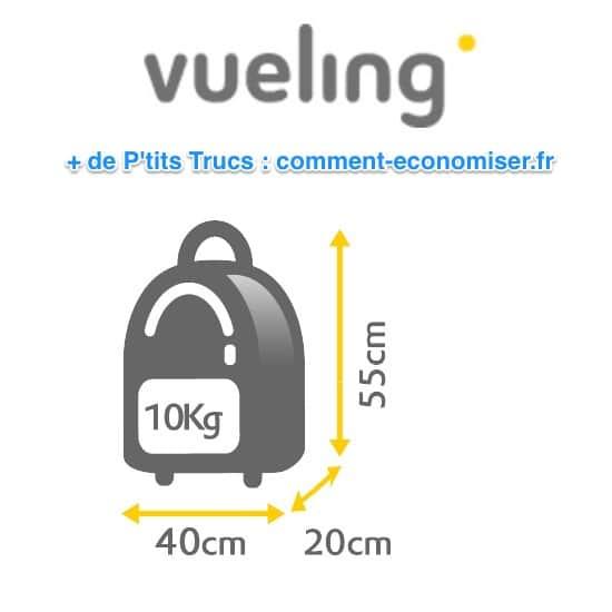 أبعاد الأمتعة المحمولة في شركة Vueling