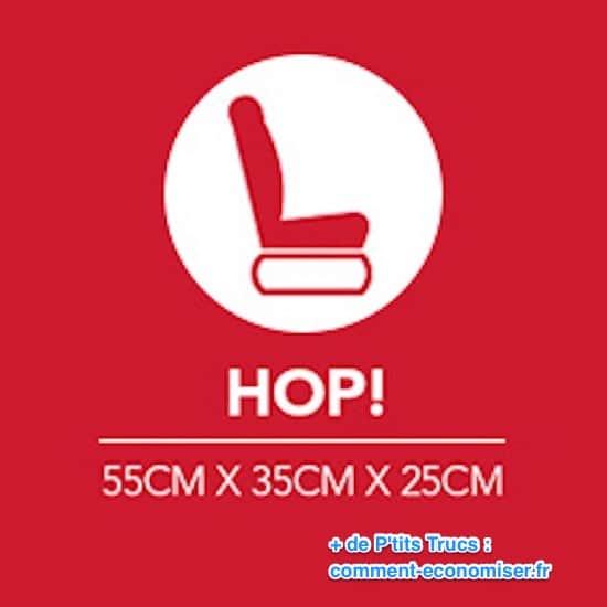 أبعاد الأمتعة في المقصورة لـ Hop!