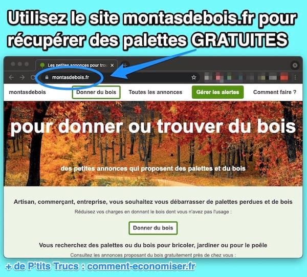 موقع montasdebois.fr للعثور على منصات خشبية مجانية.