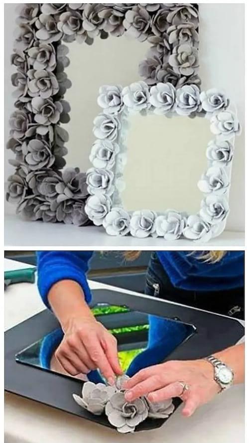 إطار مرآة مصنوع من علب بيض