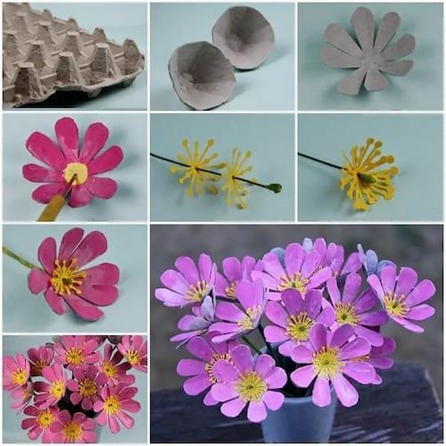 زهور مصنوعة من علب من علب البيض