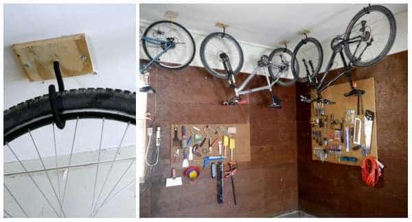 دراجات معلقة من سقف المرآب