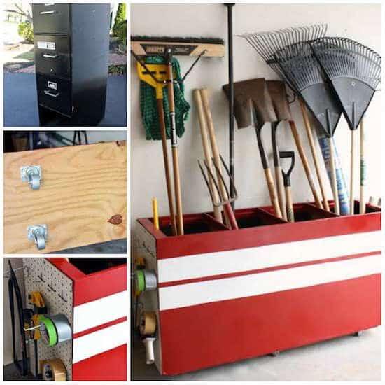 خزانة مقلوبة لتخزين أدوات البستنة