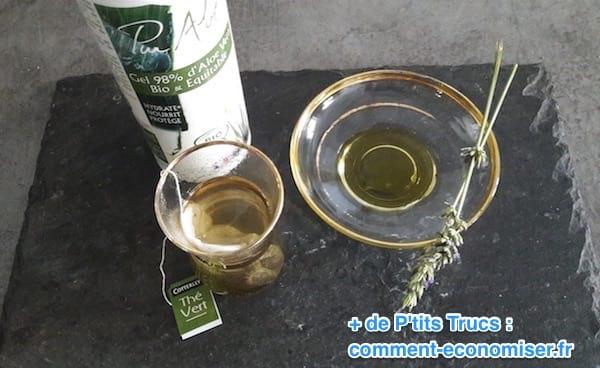 جل الصبار والشاي الأخضر وزيت اللافندر للحد من الاحتكاك على الفخذين والاحمرار