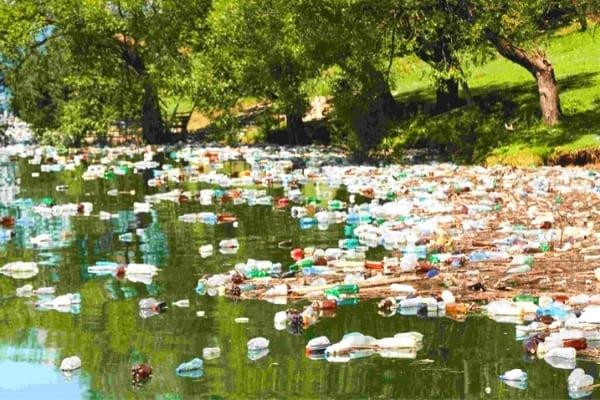 الزجاجات البلاستيكية التي تلوث أحد الأنهار في فرنسا