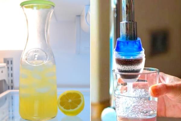 إبريق مع ماء ليمون وفلتر مياه